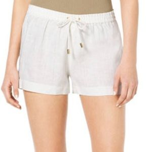 Michael Kors White Linen Shorts Elastic Waist, 4